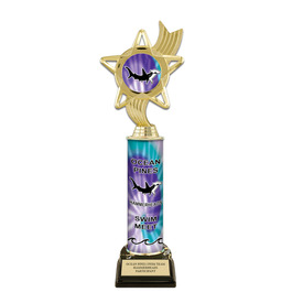 "12"" Design Your Own Swimming Award Trophy w/ Black HS Base"
