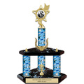 "15""  Trophy w/ Black Base, Wreath, Trim and Insert Top"