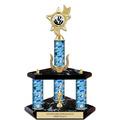 "15"" Black Finished Swim Award Trophy w/ Wreath, Trim & Insert Top"