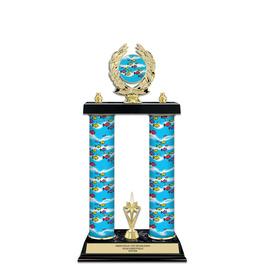 "15"" Design Your Own Swimming Award Trophy w/ Custom Column, Trim & Insert Top"