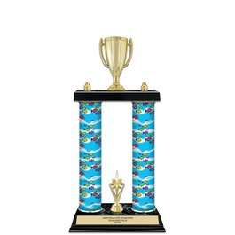"15"" Black Finished Swimming Award Trophy w/ Custom Column & Trim"