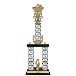 "20"" Black Finished Swimming Award Trophy w/ Custom Column & Trim"
