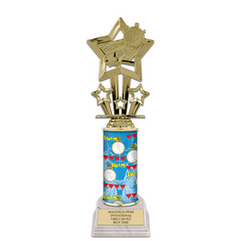 "10"" White HS Base Swimming Award Trophy"