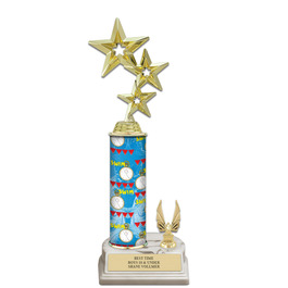 "12"" White HS Base Swimming Award Trophy w/ Trim"