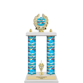 """15"""" Design Your Own Swimming Award Trophy w/ White Base, Trim & Insert Top"""