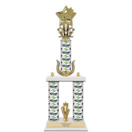 "20"" White Finished Swimming Award Trophy w/ Custom Column, Wreath & Trim"