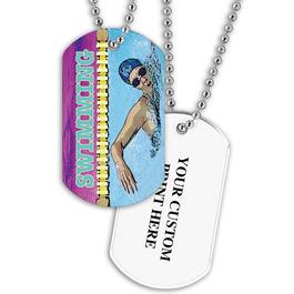 Personalized Swim Crawl Dog Tag w/ Print on Back