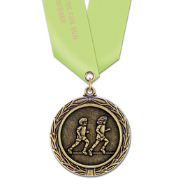 LX Track & Field Award Medal w/ Any Satin Neck Ribbon - OUR MOST POPULAR MEDAL