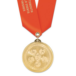 BL Track & Field Award Medal w/ Satin Neck Ribbon