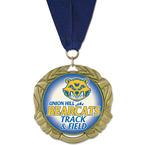 XBX Track & Field Award Medal w/ Grosgrain Neck Ribbon