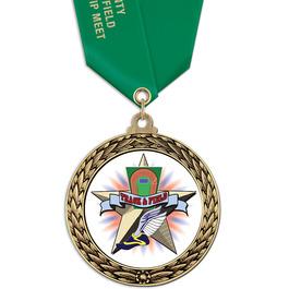 GFL Track & Field Award Medal w/ Satin Neck Ribbon