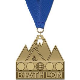 HH Triathlon and Biathlon Award Medal w/ Grosgrain Neck Ribbon