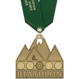 HH Triathlon and Biathlon Award Medal w/ Satin Neck Ribbon