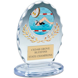 "6-3/8"" Free Standing Oval Swimming Award Trophy"