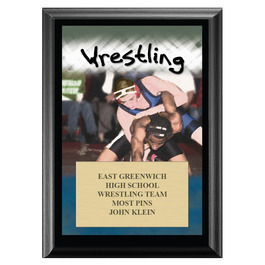 Full Color Wrestling Black Wood Plaque